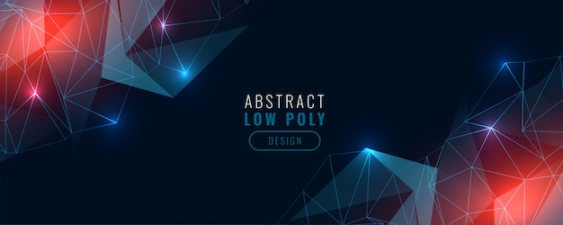 Low poly digital technology glowing banner Free Vector