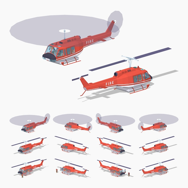 Low poly fire helicopter Premium Vector