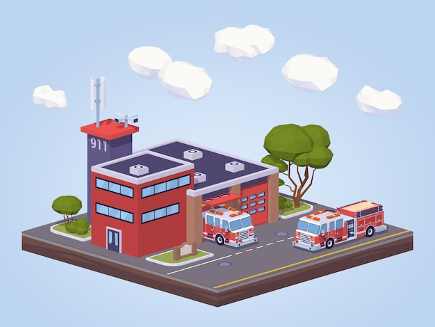 低ポリ消防署 Premiumベクター