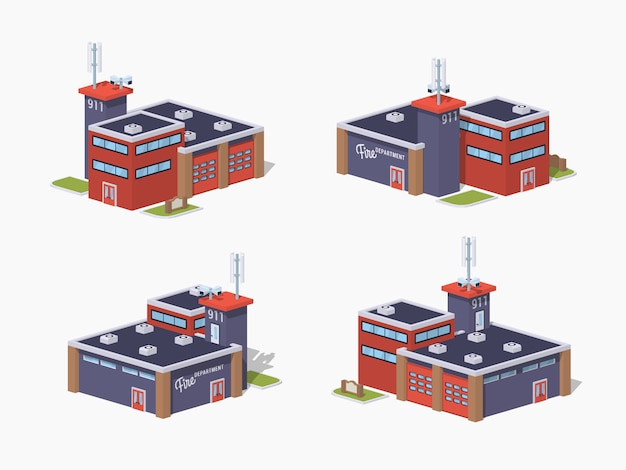 Low poly fire station Premium Vector