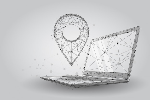 Low poly gps pin on pc laptop screen. abstract wireframe maps and navigator services Premium Vector