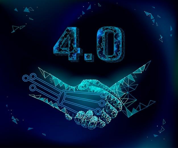 低ポリハンドシェイクの将来の産業革命の概念。インダストリー4.0 ai人工および人間連合。オンライン技術契約業界管理。 3dポリゴンシステムの図 Premiumベクター