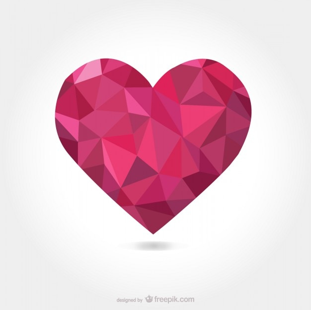 Low poly heart Free Vector