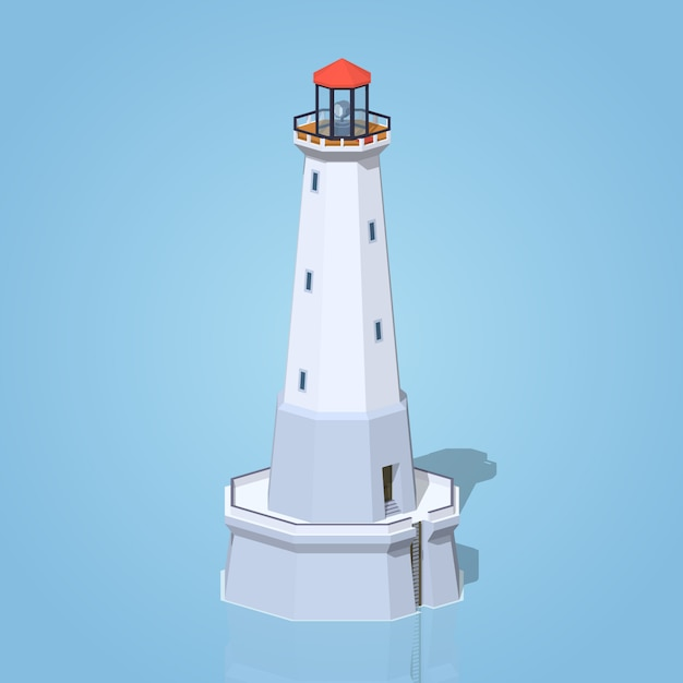 Low poly lighthouse Premium Vector