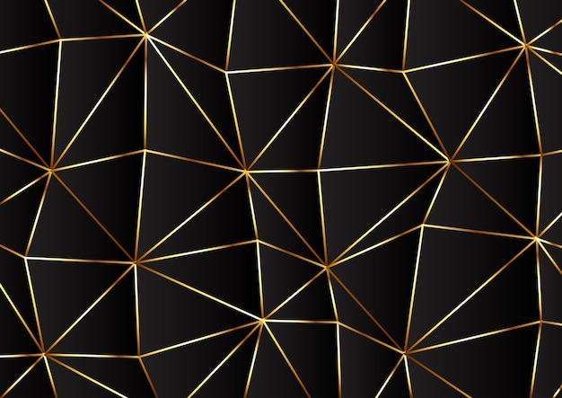 Low poly modern design in gold and black colours Free Vector