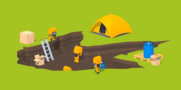 Low poly monster footprint and the team of scientists Premium Vector