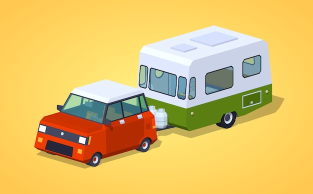 Low poly red hatchback with green-white motor home Premium Vector