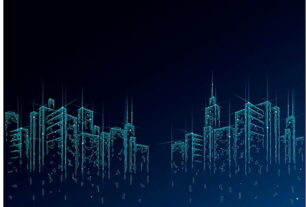 Низкая поли умный город 3d проволочной сетки. интеллектуальная система автоматизации здания бизнес-концепция. высокие небоскребы границы шаблон фона. архитектура городской городской технологии иллюстрации Premium векторы