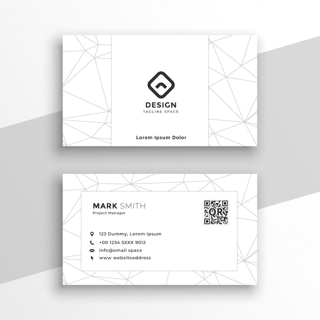 Low poly style geometric white business card Free Vector