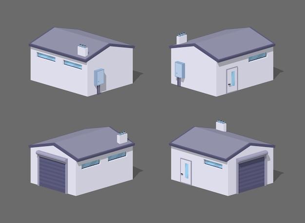 Low poly white garage Premium Vector