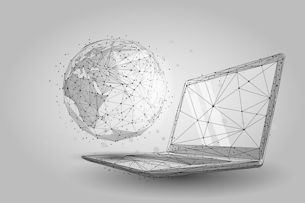 Low poly wireframe global world. planet earth on laptop screen Premium Vector