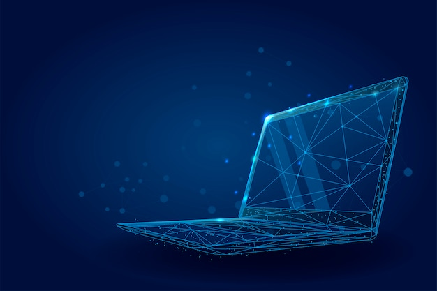 Low poly wireframe laptop. plexus lines and points illustration Premium Vector