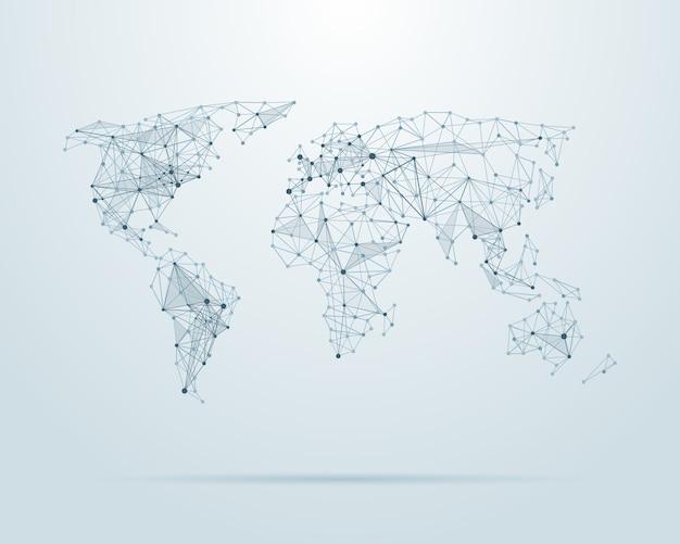 Mappa del mondo low poly Vettore gratuito