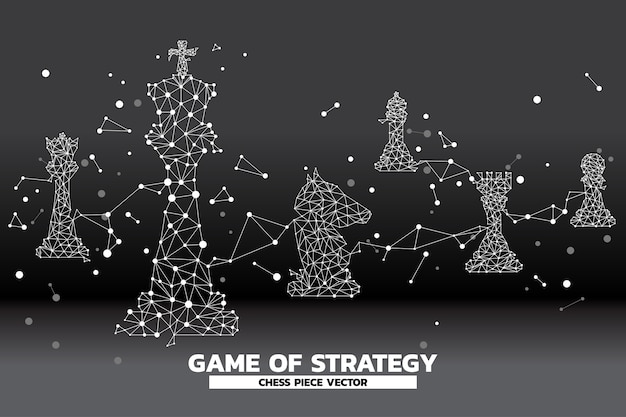 Low polygon dot connected line of chess piece vector. Premium Vector