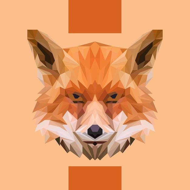 Low polygonal fox head vector Premium Vector