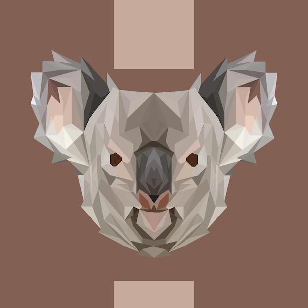 Low polygonal koala head vector Premium Vector