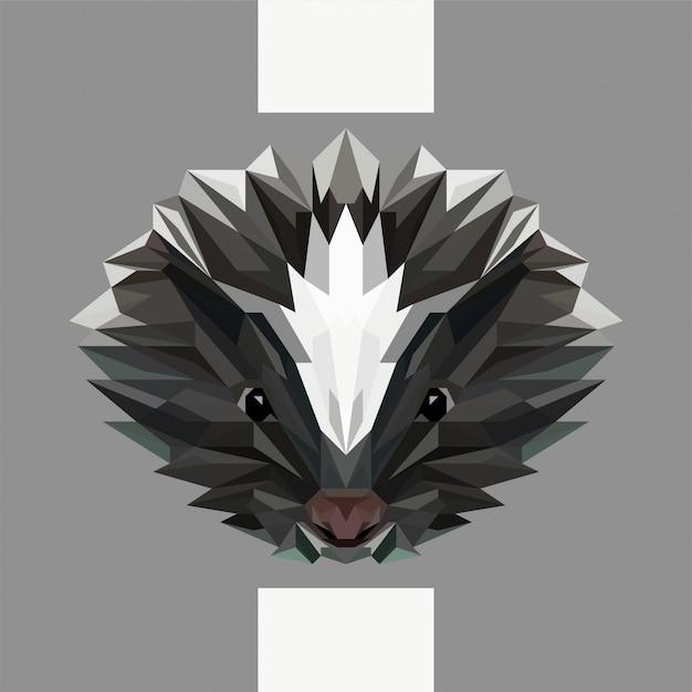 Low polygonal skunk head vector Premium Vector