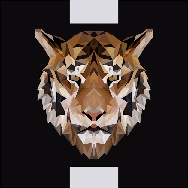 Low polygonal tiger head vector Premium Vector