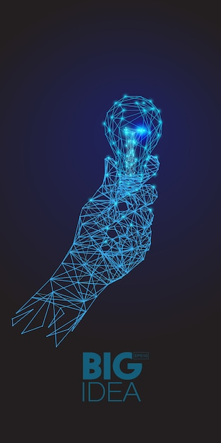 Low polygons of hand holding a light bulb on dark background. Premium Vector