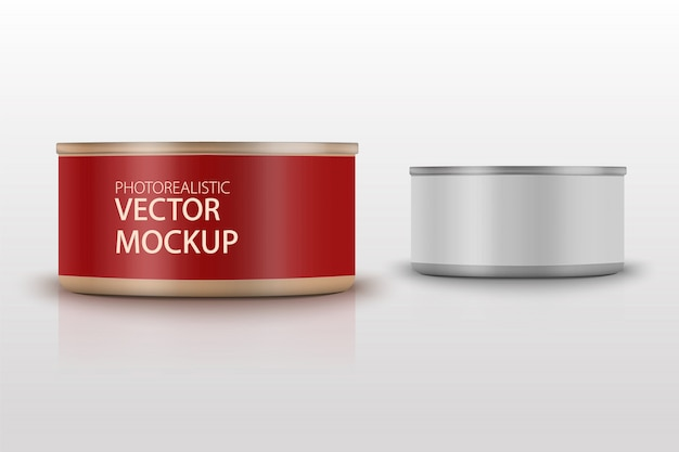 Low-profile matte tuna can with label on white background. photo-realistic packaging   template with sample design. 3d illustration. Premium Vector