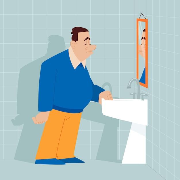 Illustrazione di bassa autostima con uomo e specchio Vettore gratuito