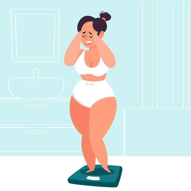 Иллюстрация низкой самооценки с женщиной и масштабом Бесплатные векторы
