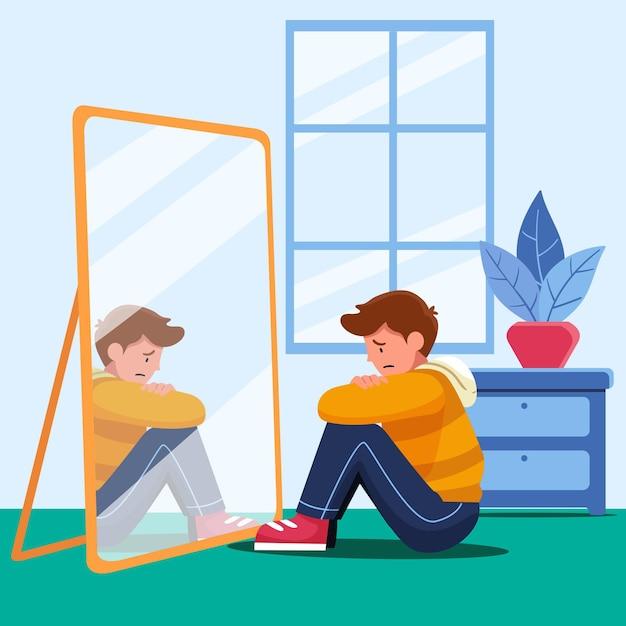 Low self-esteem illustration Premium Vector