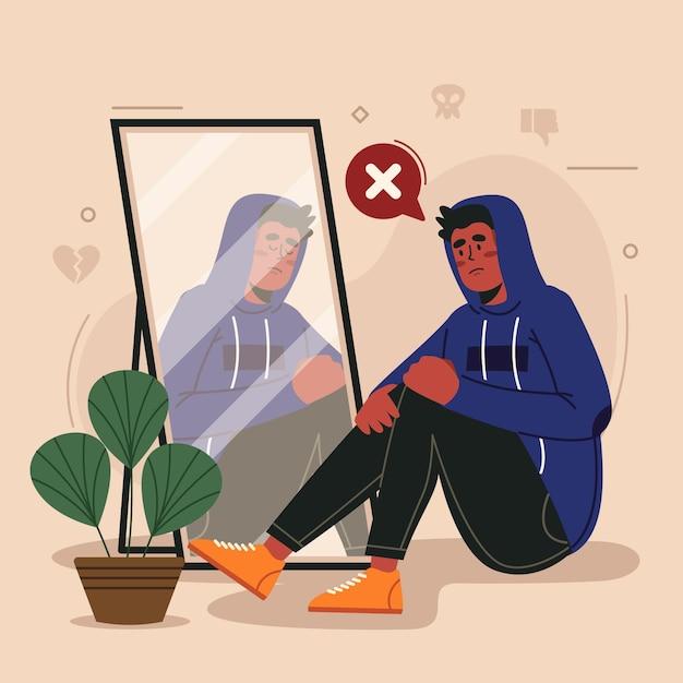 Low self-esteem illustration Free Vector