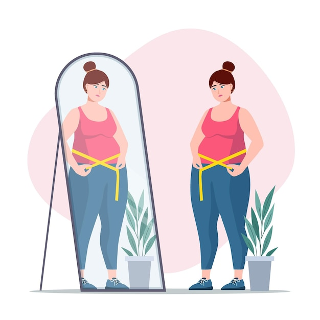 Lowself-esteem woman looking into the mirror Free Vector