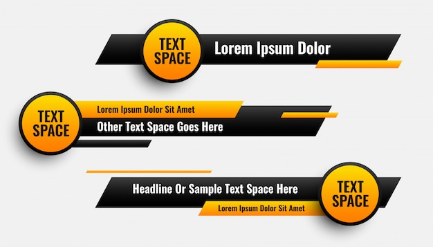 Lower third banners in circle and geometric style Free Vector
