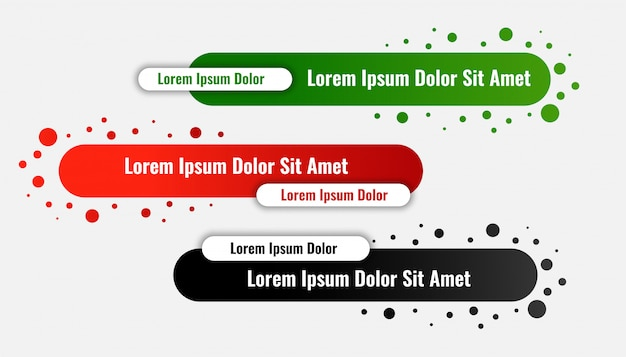 Lower third banners in rounded style Free Vector