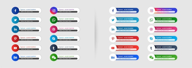 Lower third social media banners template Free Vector