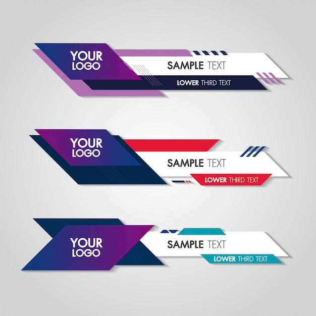 Lower third white and colorful template modern contemporary. Premium Vector