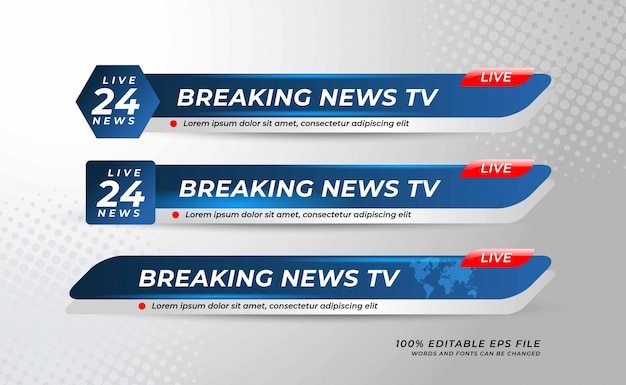 Lower thirds banner template for television Premium Vector