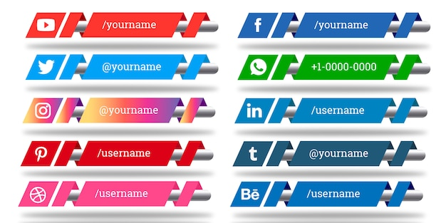 Социальные сети lower thirds Premium векторы