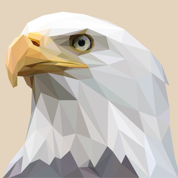 Lowpoly of white bald eagle Premium Vector
