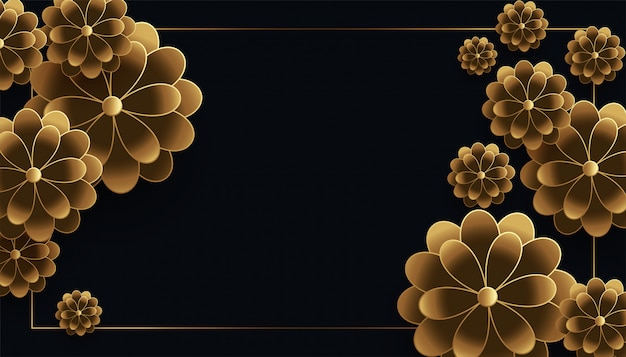 Loxury black and gold flowers background with text space Free Vector