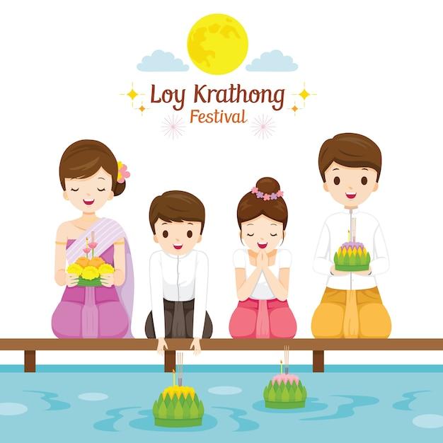 ロイクラトンフェスティバル、伝統的なタイの服を着た家族、民族衣装、タイの祭典と文化 Premiumベクター
