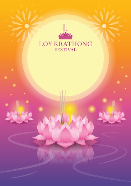 Loy krathong festival full moon background, krathong made from lotus Premium Vector