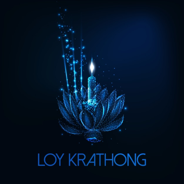 Loy krathong tai festival edsign with floating glolow low poly lotus flower、candle and aroma stick Premiumベクター
