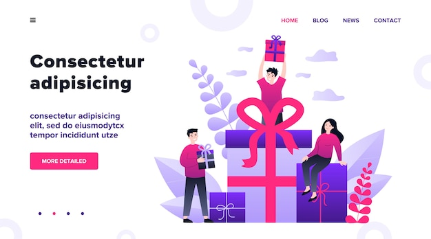 Постоянные клиенты получают подарки и бонусы от магазина. счастливые молодые люди получают подарочные коробки. иллюстрация для вознаграждения, программы лояльности, продвижения, маркетинговой концепции Premium векторы