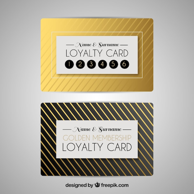 Loyalty card template in golden color Free Vector