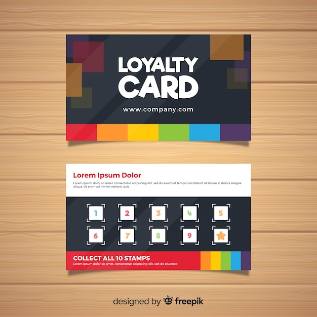 loyalty card template with abstract design vector free. Black Bedroom Furniture Sets. Home Design Ideas