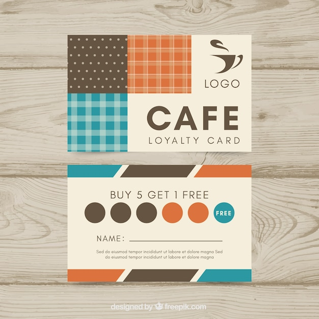 Loyalty card template with coffee coupons Free Vector
