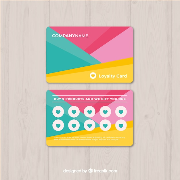 loyalty card template with colors vector free download. Black Bedroom Furniture Sets. Home Design Ideas