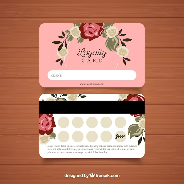 loyalty card template with floral concept free vector