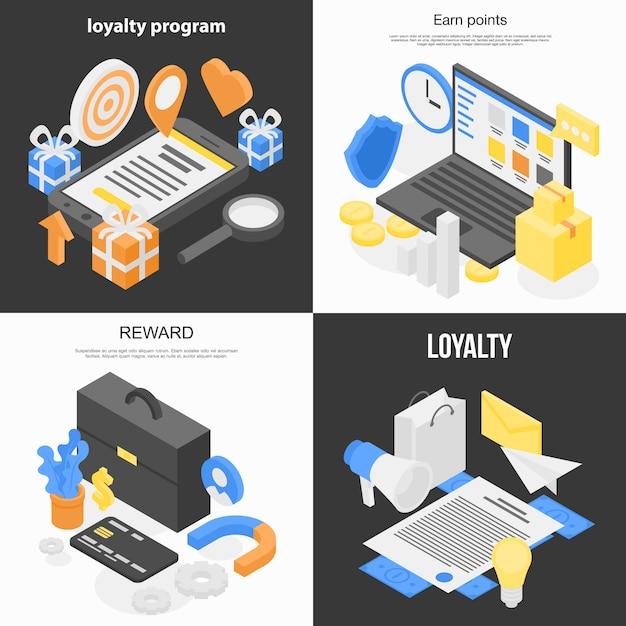 Loyalty program banner set, isometric style Premium Vector