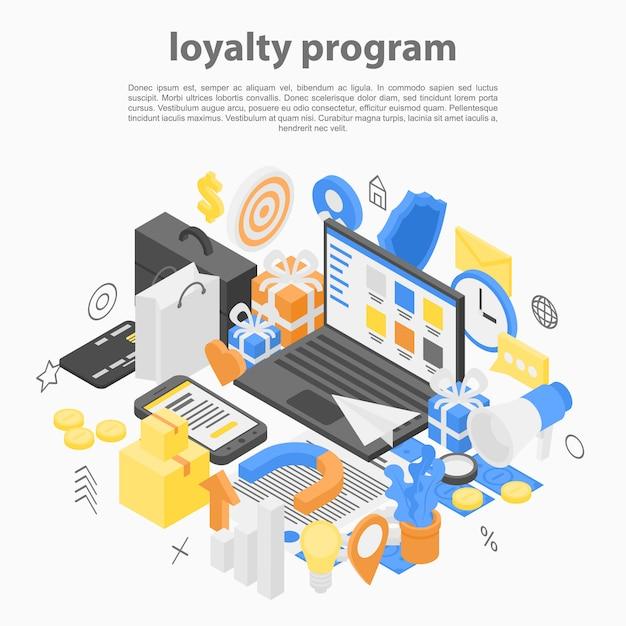 Loyalty program concept, isometric style Premium Vector