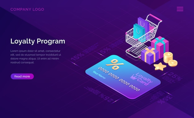 Loyalty program, isometric discount card banner Free Vector