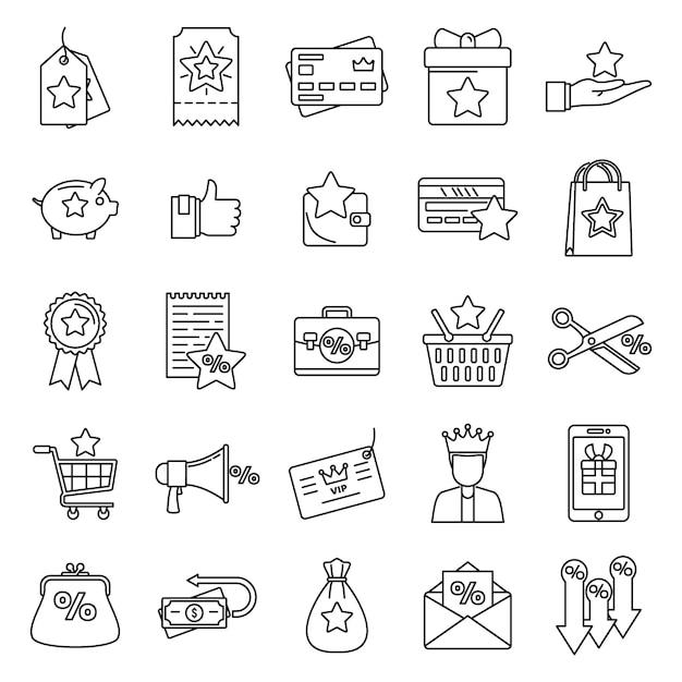 Loyalty program reward icons set, outline style Premium Vector